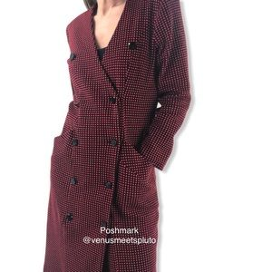 Vintage Mod check textured Trench Coat Jacket 6